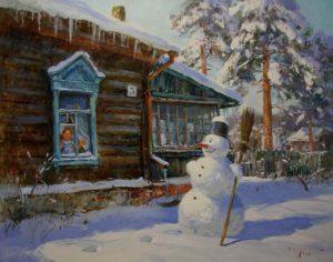 снеговик во дворе у дома