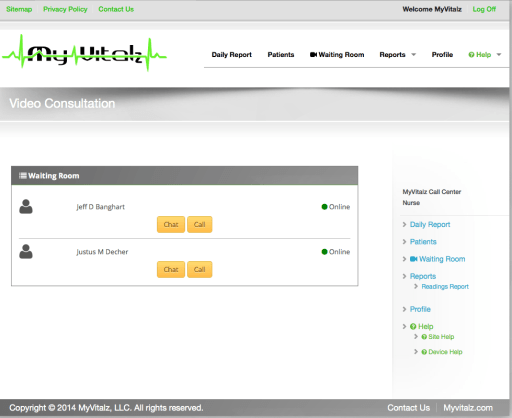 MyVitalz VSee Waiting Room Dashboard
