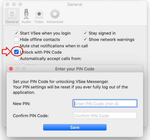 VSee PIN lock on Mac