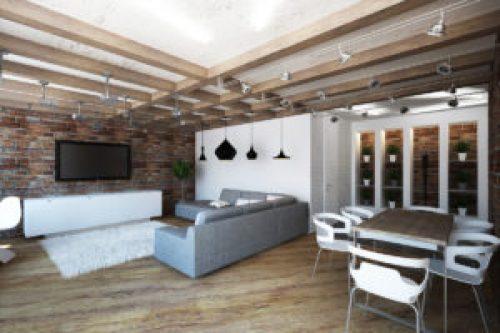 Стиль Лофт в интерьере гостиной-2