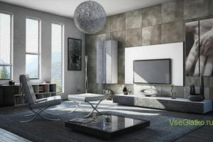 Стиль Хай-тек в интерьере гостиной-1