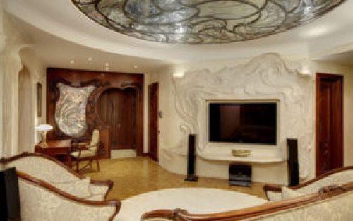 Стиль Модерн в интерьере гостиной-1