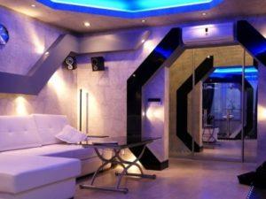 Космический стиль в интерьере гостиной-1