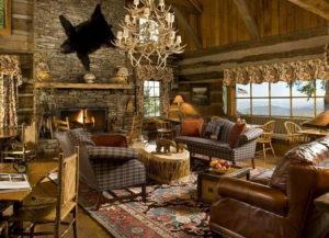 Охотничий стиль в интерьере гостиной-2