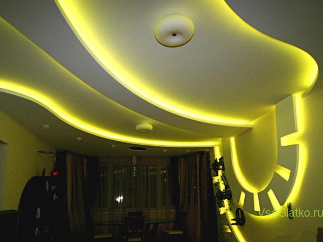 Подсветка светодиодной лентой потолка-2