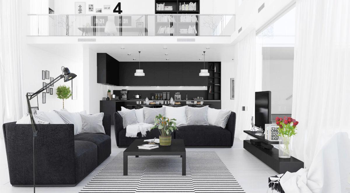 Obývací Pokoje S Kombinací černé A Bílé