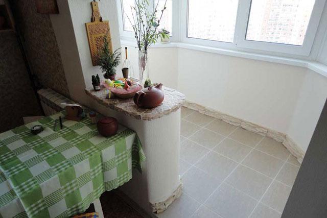дизайн кухни совмещенной с балконом 7