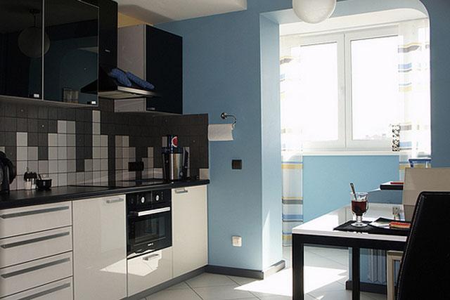 дизайн кухни 10 метров с балконом 7