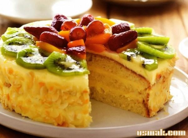 Рецепт Миндальный торт с фруктами приготовление с фото