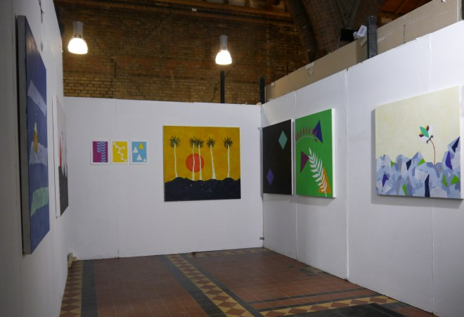 Cara's studio space at The Florence Trust Winter Open 2014.