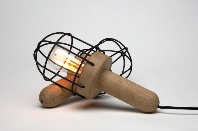 CageLamp Materials: Oak, metal and rubber coating. (Edison bulb)