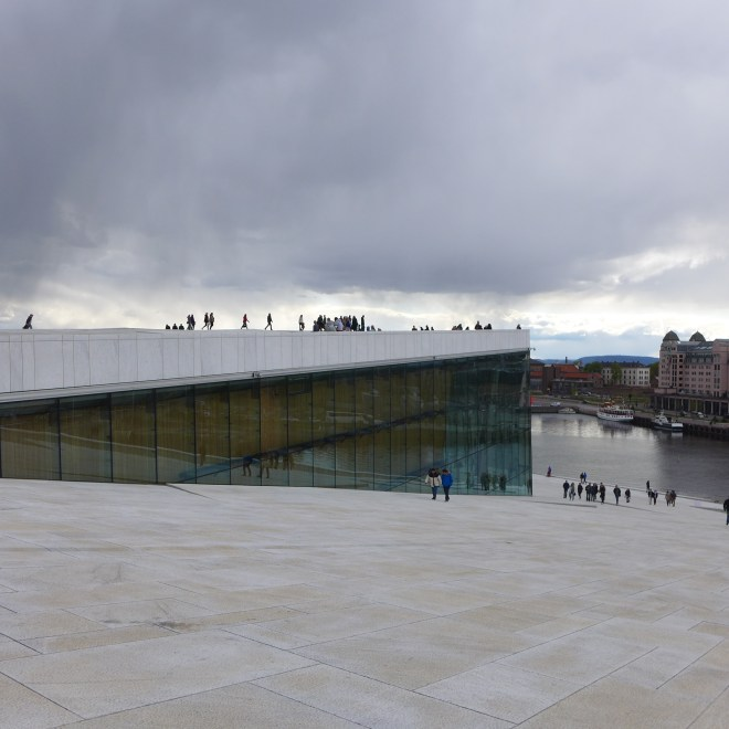 The sloping roof of the Opera House