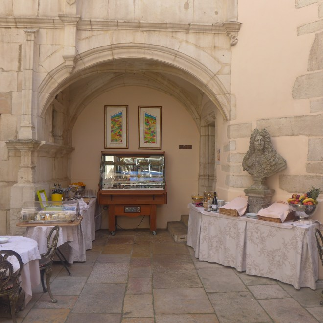 The breakfast buffet in a courtyard that dates back to 1547.