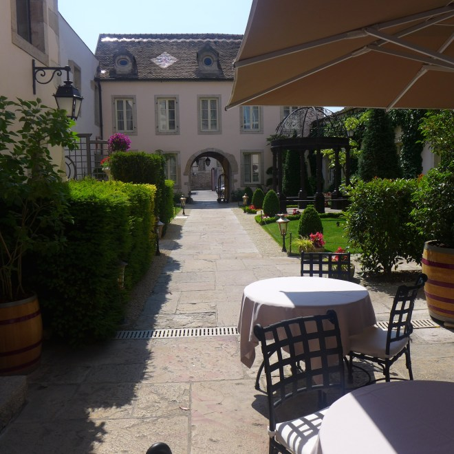 Our lovely breakfast nook at Hotel Le Cep.