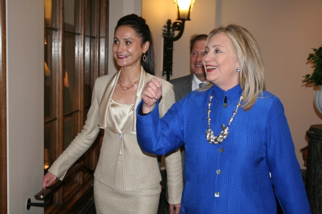 The then Secretary of State Hillary Clinton on a visit to Stockholm in 2012.