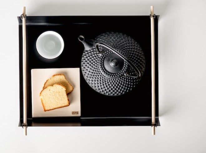 Tray for Design Nation, steel and ash wood rods and rubber.