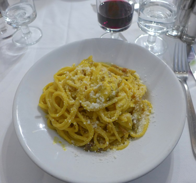 Pasta Carbonara at Trattoria Cavalier Gino. Rome.