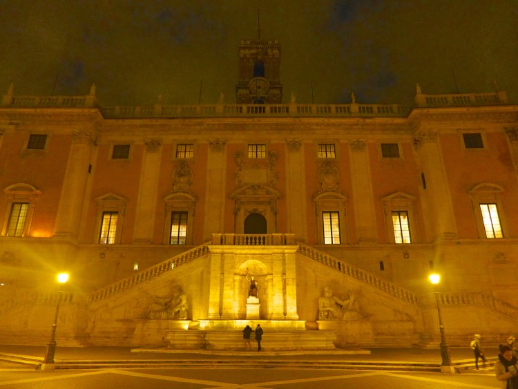 Piazza del Campidoglio on the Capitoline Hill by night.