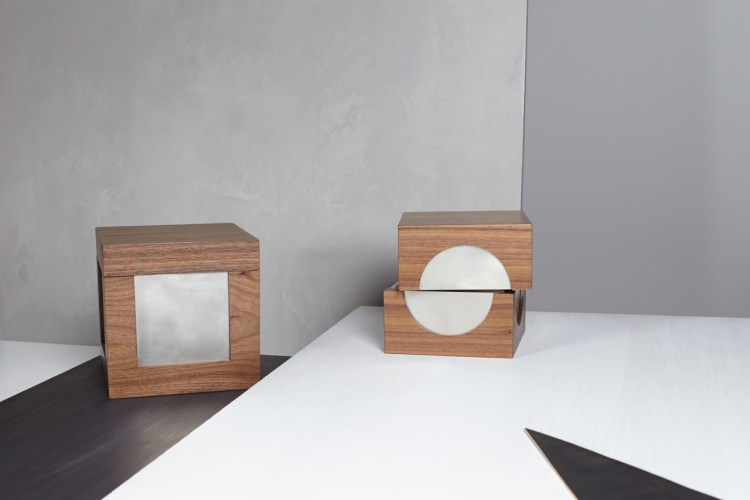 Handcrafted boxes in solid walnut with silver-plated brass inlay. Beyle Collection. Photo: Naho Kubota.
