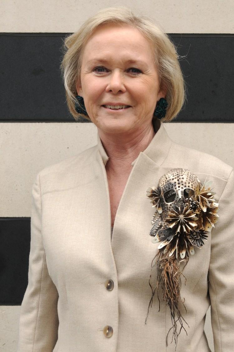 Inger Wästberg wearing a Hanna Hedman brooch.