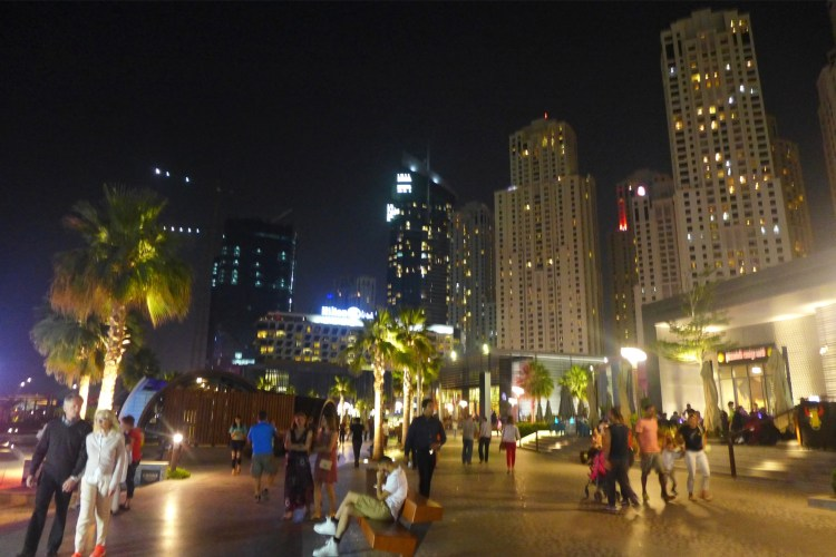 The Walk, Jumeirah Beach Resort, a stretch of restaurants and shops by the waterfront.