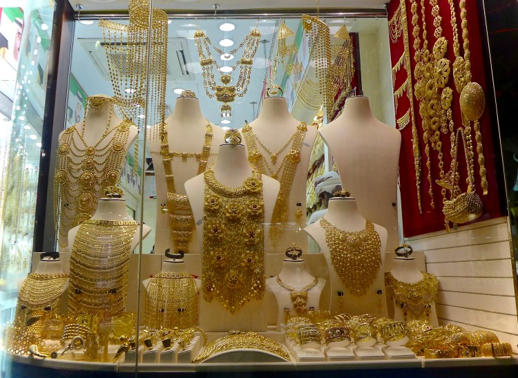 The elaborate designs at the Gold Souk. Deira.