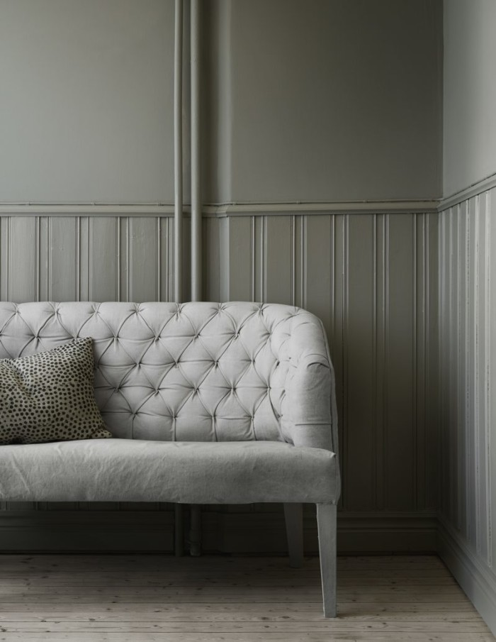 The guest room in Light Grey from Farrow & Ball.