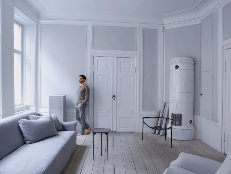 Designer Oliver Gustav in his Living Room.