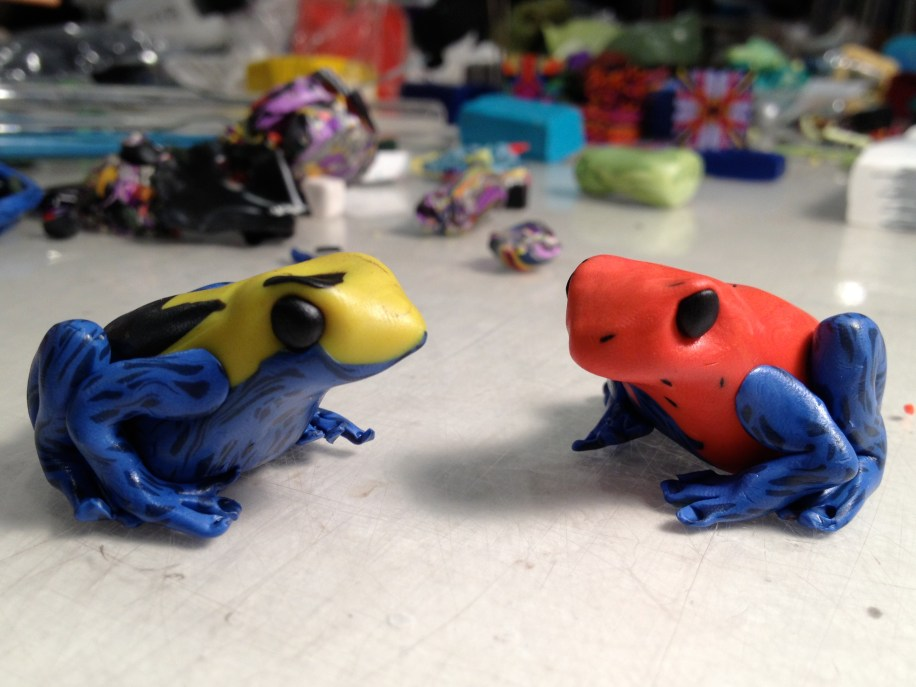Poison Dart frogs, polymer clay