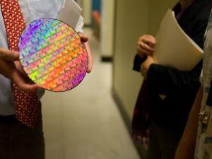 A microchip at IBM. Photo by Nat Rudarakanchana