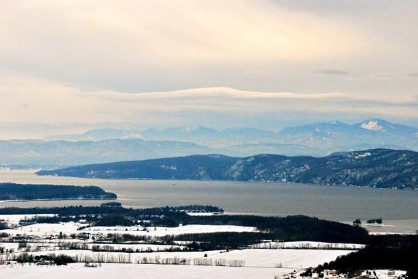 Lake Champlain's frosty shoreline in Charlotte. Photo by John Herrick/VTDigger