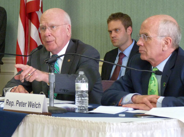 Sen. Patrick Leahy, D-Vt., is joined by Rep. Peter Welch, D-Vt., at a U.S. Senate Judiciary Committee field hearing on opiate addiction held in Rutland on Monday, March 17, 2014. Photo by Laura Krantz/VTDigger