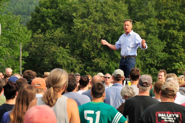 Gov. Peter Shumlin addresses a volunteer crew in Waterbury cleaning up after Tropical Storm Irene in 2011. Photo by Jeb Wallace-Brodeur