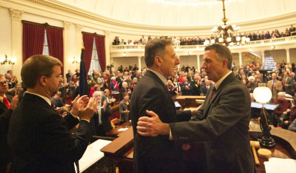Gov. Peter Shumlin greets Lt. Gov. Phil Scott during Shumlin's inauguration Thursday. Jan. 8, 2015, at the Statehouse. House Speaker Shap Smith is at left. Photo by John Herrick/VTDigger