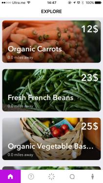A screenshot of Grow, an app built at HackVT by Bennington College students. By geo-tagging neighbors in a two-mile radius, the app allows them to sell, share, or barter their food products to others nearby and cut down on CO2 emissions. Courtesy of Rohail Altaf.