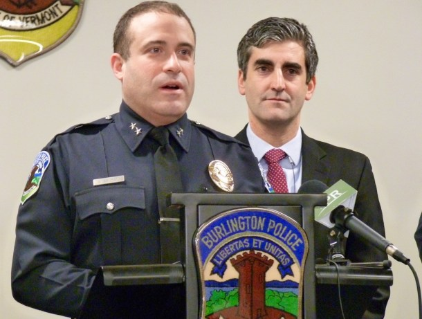Burlington Police Chief Brandon del Pozo and Mayor Miro Weinberger. VTDigger Photo by Morgan True / VTDigger