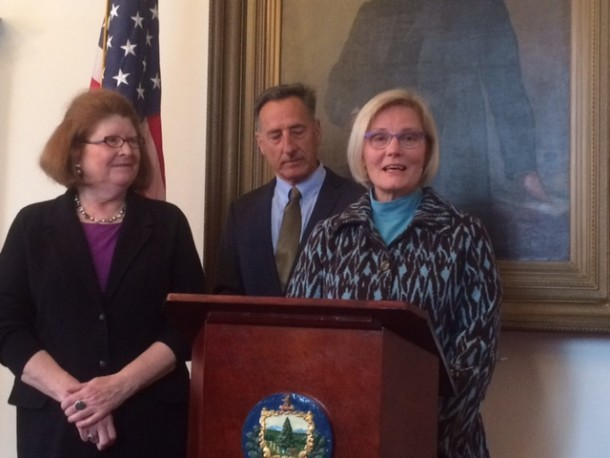 Gov. Shumlin appointed former Sen. Helen Riehle, right, to replace Sen. Diane Snelling. Photo by Mark Johnson/VTDigger