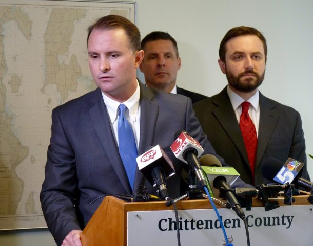 Chittenden County State's Attorney TJ Donovan and his Deputy State's Attorney Bram Kranichfeld address reporters at a news conference. Photo by Morgan True / VTDigger