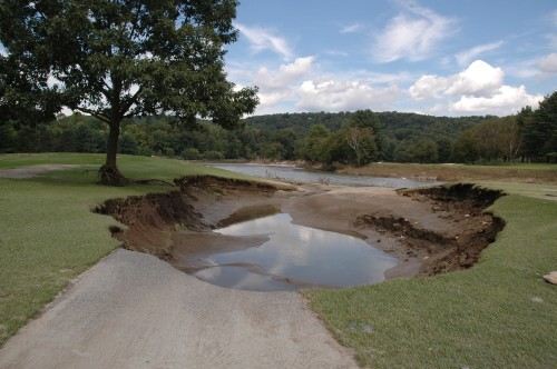 The Ottauquechee River ripped this giant new hazard in the fairways at the Lakeland Golf Course in Quechee Village. VTD/Andrew Nemethy