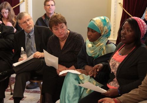 Claudine Nkurinziza, far right, addresses race issues in Burlington schools with members of the House Education Committee.  Photo by Taylor Dobbs