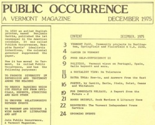 Public Occurrence, December 1975 Contents