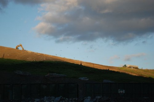 The active portion of the landfill, cell three, is covered with soil every day. Photo by Audrey Clark
