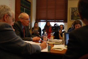Environmental activist Bill McKibben testifies before the House Committee on Commerce and Economic Development on Wednesday.