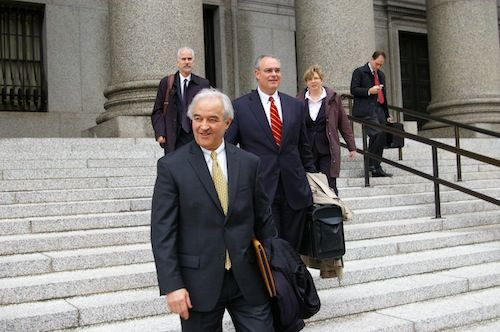 Vermont Attorney General Bill Sorrell, center, leaves the U.S. Second District Court of Appeals in New York City. Photo by Andrew Stein