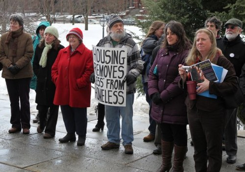 Homeless advocates gather outside the Statehouse in January. Photo by Roger Crowley