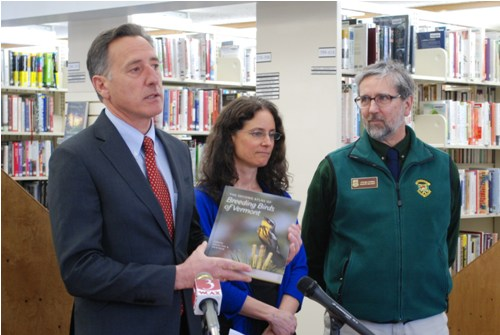 Gov. Peter Shumlin announced the release of the second Breeding Bird Atlas at a press conference in Williston on Wednesday alongside editor Rosalind Renfrew and biologist Steve Parren. Photo by Audrey Clark