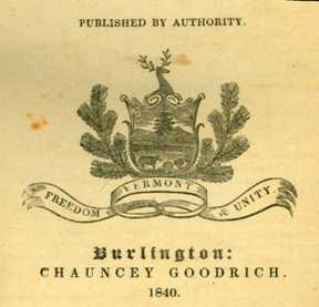 An 1840 version of the coat of arms as found in the published Acts and Resolves of the State of Vermont. Photograph courtesy of State of Vermont Archives.