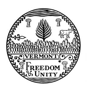 The Great Seal of Vermont, adopted by the General Assembly in 1779, is thought to be Ira Allen's interpretation of a sketch by an Englishman drawn on an ox horn. Photograph courtesy of State of Vermont Archives.