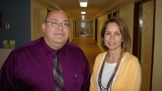 Acting Commissioner of Mental Health Frank Reed and facility director Debra Olivetti at the inside entrance to the new seven-bed secure residential mental health facility in Middlesex that is almost ready to open. Photo by Andrew Stein