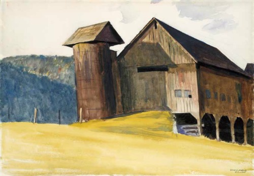 Edward Hopper, Barn and Silo, Vermont, 1927. Photo courtesy Middlebury College Museum of Art